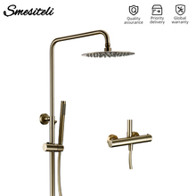 Bathroom Faucet Shower-Head Brushed Gold Thermostaic-Temperature Rain Wall-Mount Hand-Sprayer