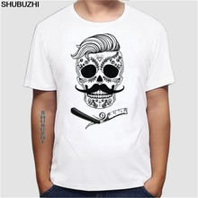 Mens Diepe Bezuinigingen Hipster T-shirt Kapper Kappers Tattoo Baard V43 Mannen Top Tees Euro Maat(China)