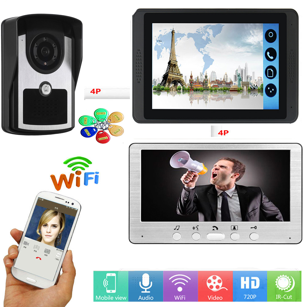 APP Control Video Intercom 7 Inch Monitor Wifi Wireless Video Door Phone Visual RFID Access Unlock Intercom Doorbell System