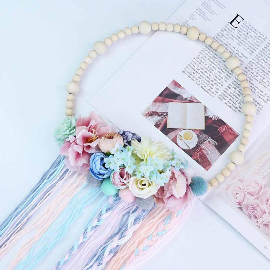 Dziewczyna akcesoria do włosów fotografia rekwizyty Nordic styl drewniane koraliki do włosów piłka girlanda Tassel dekoracje ścienne