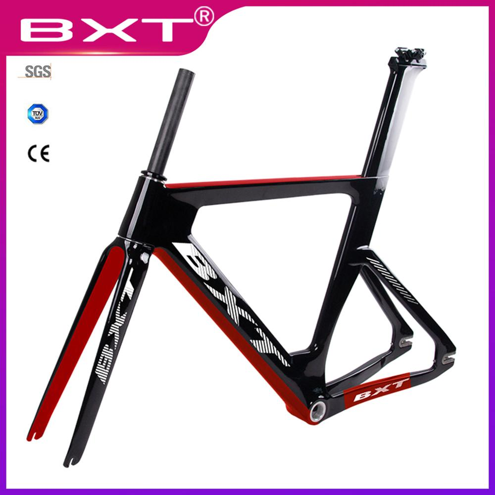 New Track Frame  Full Carbon Road Frames Fixed Gear Bike Frameset With Fork Seat Post Carbon Road Bicycle Frame Made In China