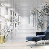 Papel de parede foto personalizada 3d  estereoscópico abstrato espaço europeu padrão de flores sala de estar sala de tv fundo de parede mural papel de parede