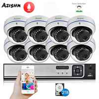 AZISHN H.265+ 8CH 5MP POE Security System NVR Kit Audio Explosion-proof 5MP IP Camera Face Detection CCTV Surveillance NVR Set