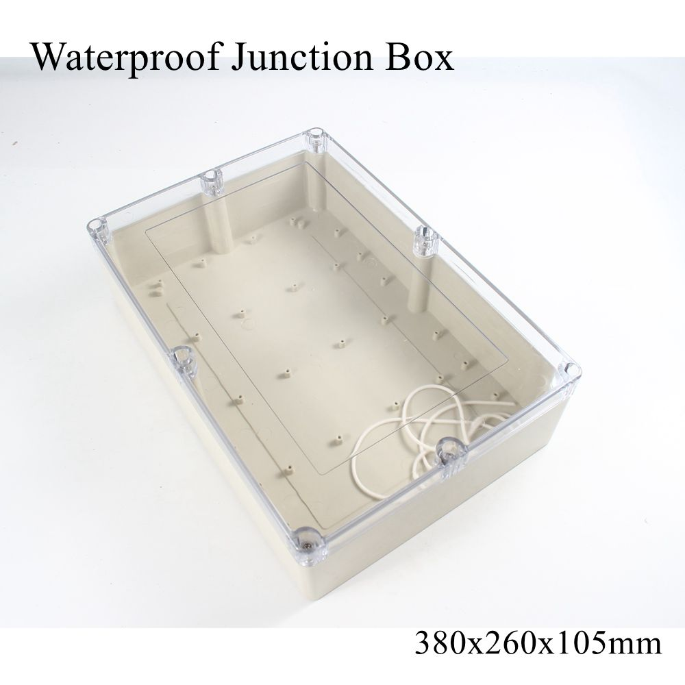 380x260x105mm Wasserdichte Kunststoff Junction Box Transparent Klare Elektrische Projekt Fall ABS IP65 Outdoor Gehäuse 380 * 260*105mm image