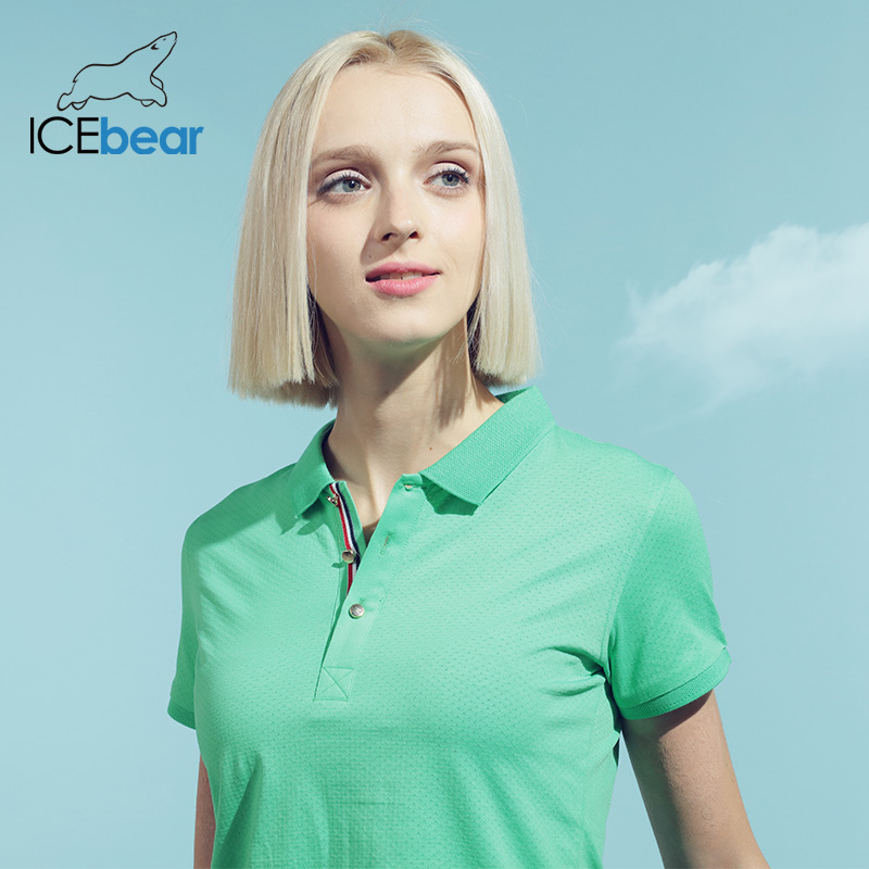 Icebear 2020 Quick-drying Sports Lapel T-shirt High Quality Breathable Women's Short Sleeve Women's Clothing 1602
