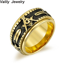 купить Valily Jewelry Men's Gold Color Spinner Freemason band ring ,stainless steel fashion rotate masonic signet ring for women дешево