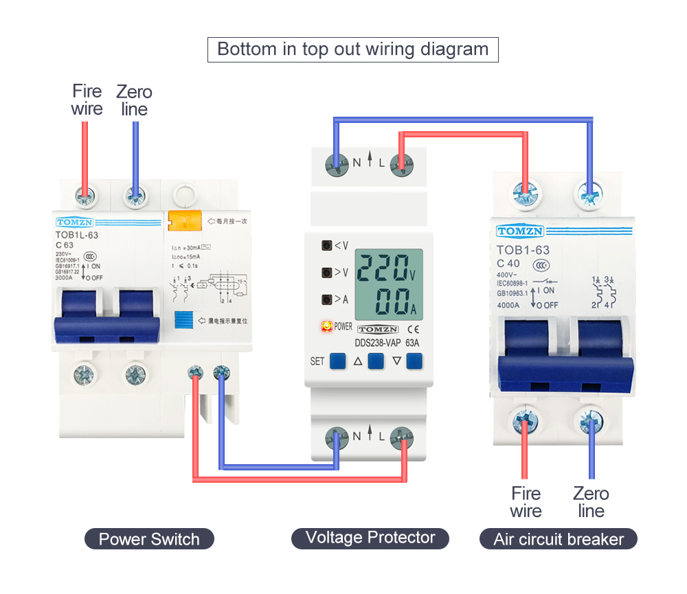He17357dc6ad84e2782c61d84b2b300a3I - 63A 80A 110V 230V Din rail adjustable over under voltage protective device current limit protection Voltmeter ammeter Kwh