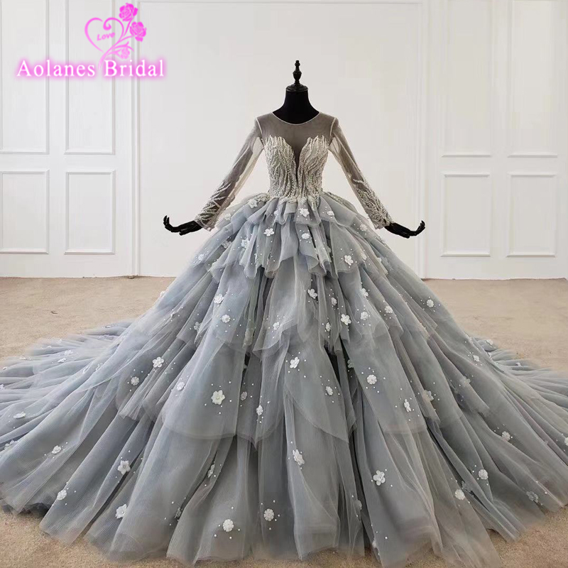 Prom Dresses 2020 Lace Appliques 3d Flowers High Quality Custom Made Sweetheart Tulle Lace Up Back Layers Skirt Ball Gown
