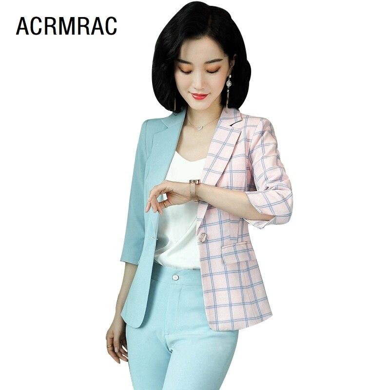 Women Suits Summer Half Sleeve Hit Color Blazers Pants Office Lady Formal Work Clothes Women Pants Suits Woman Set Suits 6120