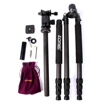 Z818C Portable travel tripod 3-Way Ball Head Carbon fiber Camera Tripod Stand for Canon Nikon Sony Digital SLR DSLR Camera