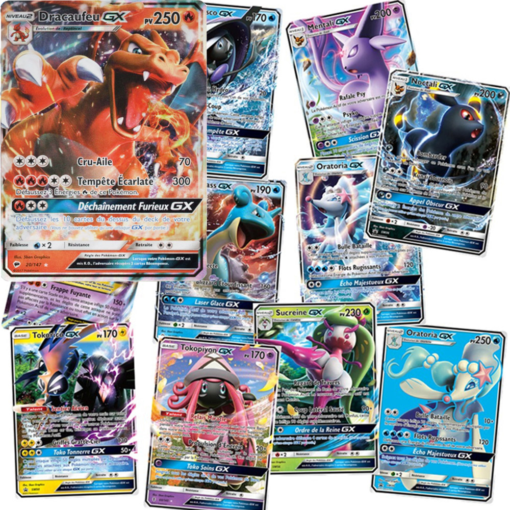 New Pokemon French Card GX MEGA Shining Cards Game Battle Carte Trading Cards Game Children Toy