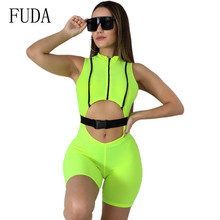 FUDA Hot Buckle Hollow Out Tight Sexy Sleeveless Jumpsuits Summer Bodycon Short Rompers Playsuits Women Party Overalls