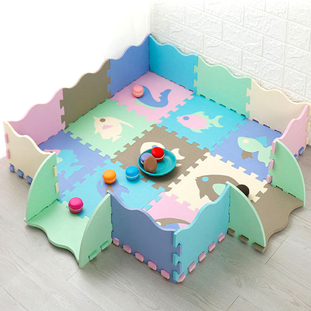 EVA Foam Play Mat With Fence Baby Puzzle Jigsaw Floor Mats Thick Carpet Pad Toys For Kids Educational Toys Activity Pad