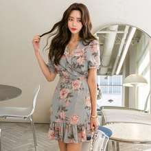 Summer Dress 2020 Women Boho Ruffles Floral Bodycon Mermaid Dresses Chiffon Vestidos Casual Dresses DG106(China)