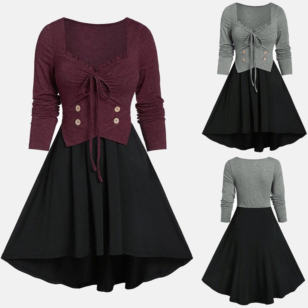 Ropa mujer Vestido de manga larga Frauen Casual Plus Größe Solide Abend Party Verband Unregelmäßigen Langarm Kleid платье 2021 #32