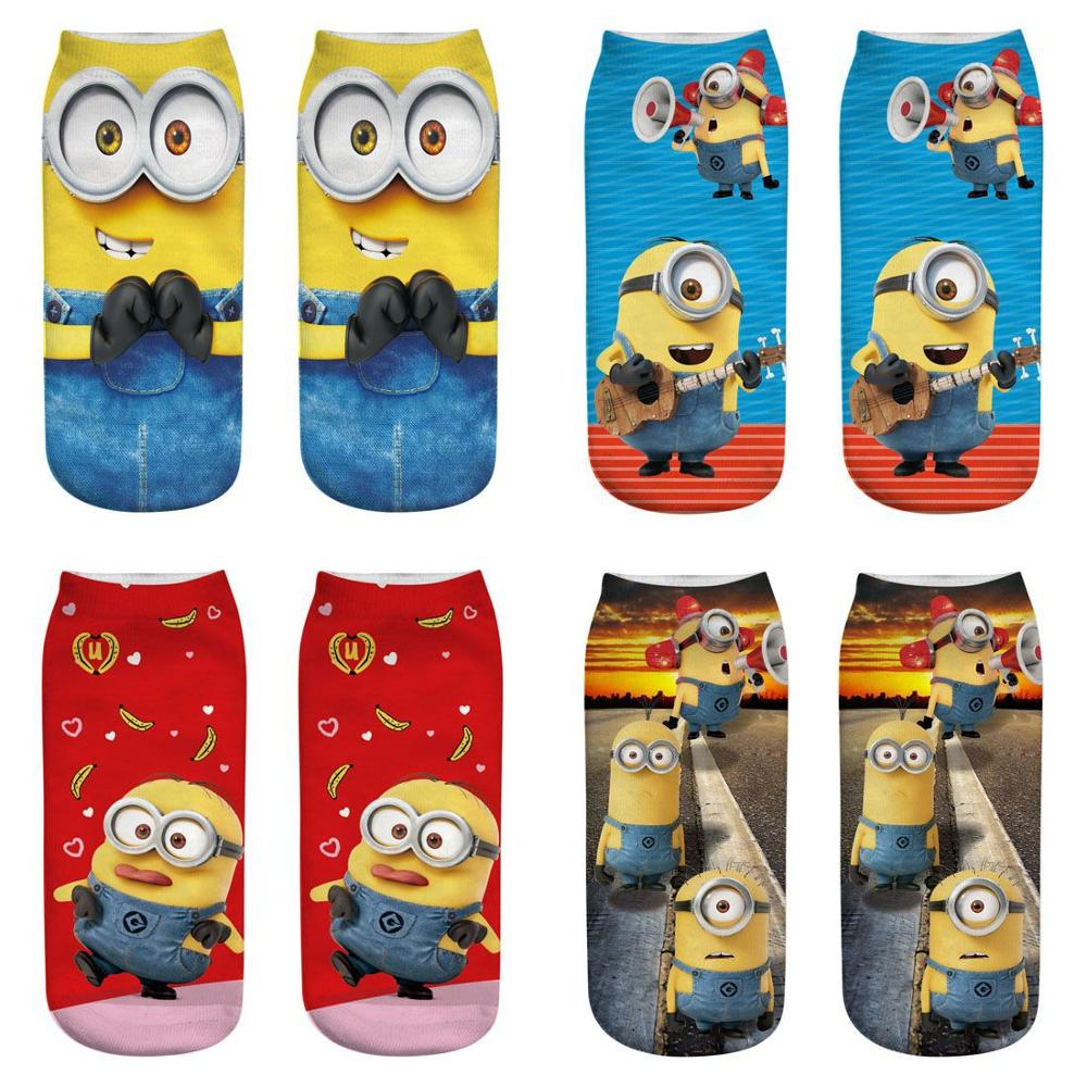 2019 New Women Men Cute Cotton Ankle Socks Cotton Cartoon Minions Funny Socks Christmas Socks Colorful Boy Girl Cute Short Socks