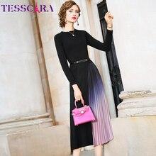 Tesscara 女性秋冬エレガントなセータードレス女性デザイナーカクテルプリーツ vestidos 高品質ロングオフィスパーティーローブ