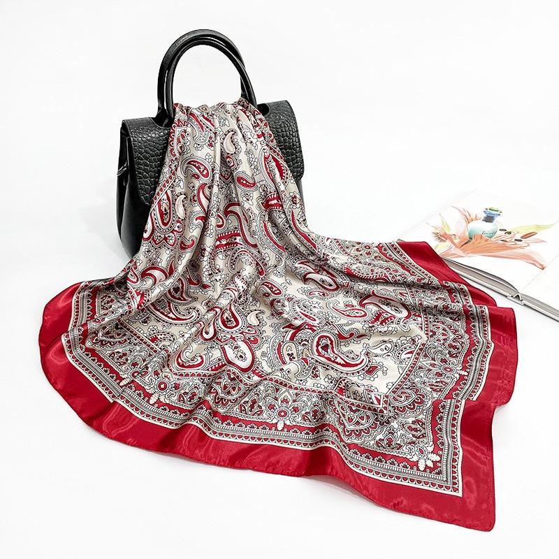 Imitation Silk Scarves Women 2021 New Fashion 90*90CM Luxury Cashew Print Turban Shawl With Gift Scarf In Stock Wholesale