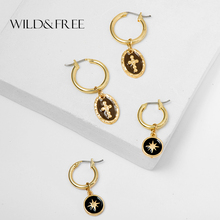 Wild&Free Vintage Small Hoop Earrings For Women Girl Enamel Gold Round Coin Cross Charm Pendant Earring Piercing Brincos Jewelry