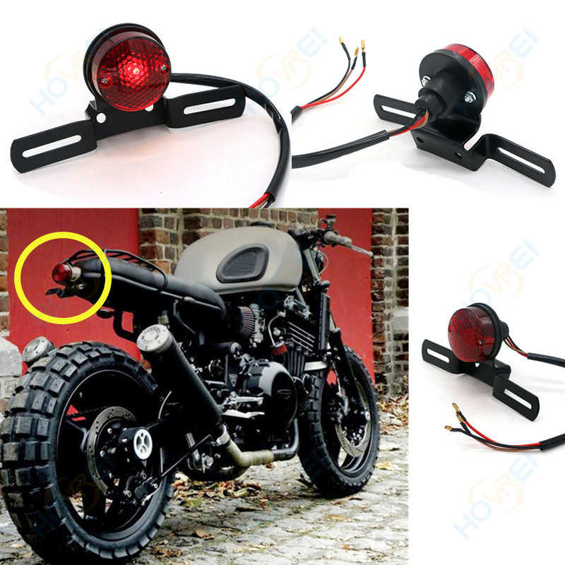new Universal Motorcycle retro TailLight  brake light License Plate Integrated Lights  For Harley Bobber Chopper