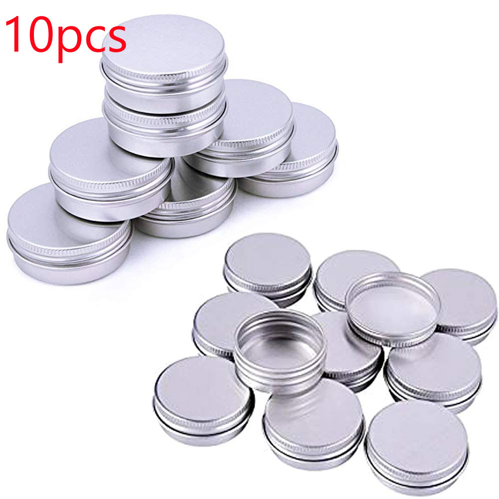 10ppcs X Silver Aluminium Tin Jar Sample Container Cosmetic Pots Round Can With Screw Cap For Lip Balm Art Cream Make Up Storage