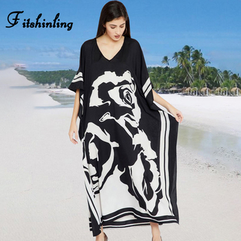 Fitshinling Print Floral Holiday Long Dress Beach Wear Oversized Batwing Sleeve Loose Cover-Up Boho V Neck Pareos Women 2020 New