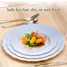 Круглые одноразовые тарелки, вечерние, свадебные, на день рождения, белая упаковка(6 шт.), походная посуда, новогодняя тарелка, модная, прочная тарелка для дома