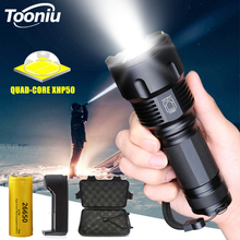 Ultra Bright LED Flashlight with XHP50 Lamp Bead Powerful Tactical Torch 3 Mode Waterproof Zoom Camping Light Use 26650 Battery