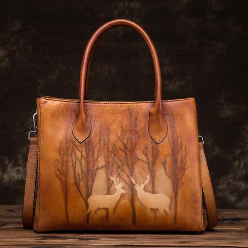 Femmes en cuir véritable fourre-tout sacs à bandoulière Vintage impression sac à main grand sac à main en cuir femelle Packbag nouveau sac à bandoulière sangle