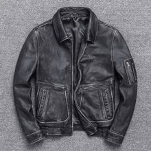 Vintage Mens Genuine Leather Jackets and Coat Motorcycle Real Cow Cowhide Winter