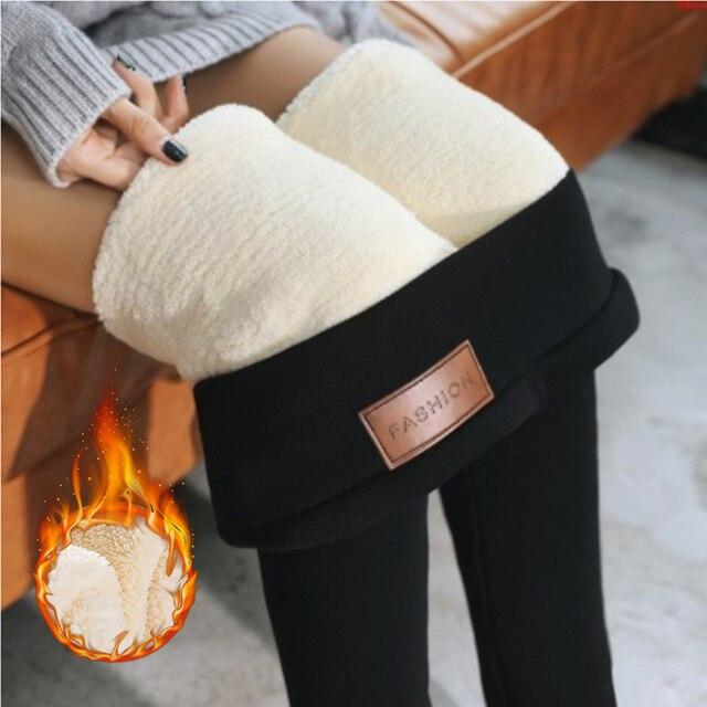 NORMOV Warm Pants Winter Skinny Thick Velvet Wool Fleece Girls Leggings Women Trousers Lambskin Cashmere Pants Female Leggings 1