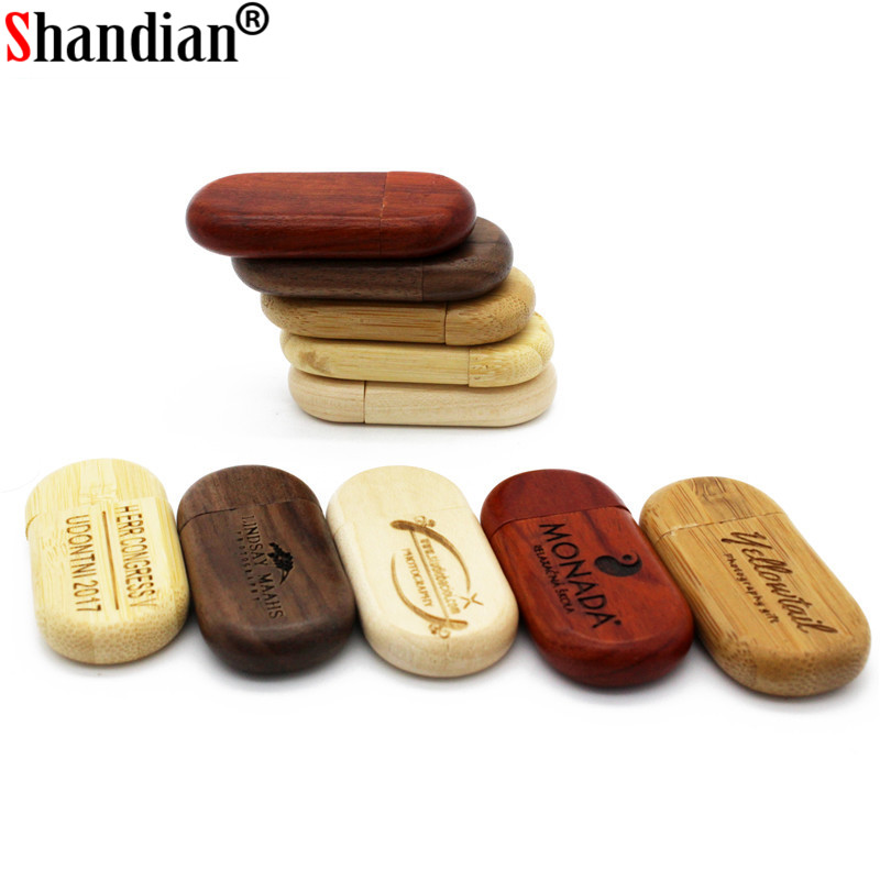 SHANDIAN 1PCS Free Custom Logo Wooden Usb Flash Drive Pendrive 4GB 16GB 32GB 64GB External Storage Flash Card Memory Disk