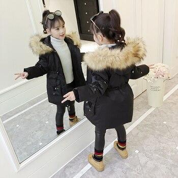 Girls Cotton Coat Winter New Children's Down Cotton Parka Girls Long And Medium-length Outerwear