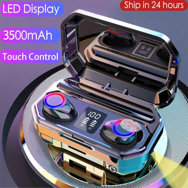 3500Mah Bluetooth Oortelefoon Draadloze Hoofdtelefoon Touch Control Led Met Microfoon Sport Waterdichte Headsets Oordopjes Oortelefoon