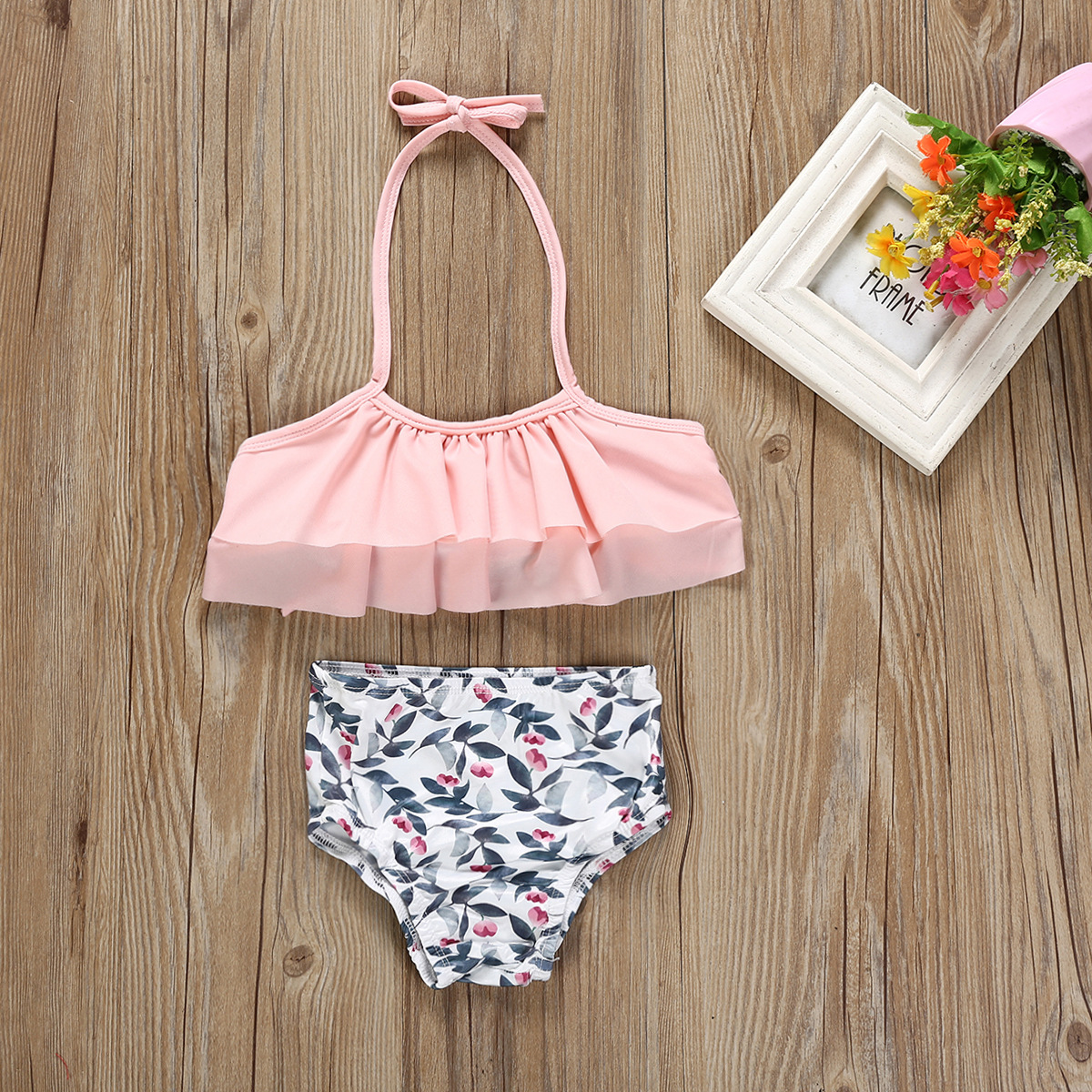 EBay Hot Selling Childrenswear Floral-Print Bathing Suit 2 Pieces