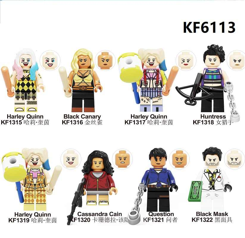 Building Blocks Birds of Prey Bricks Harley Quinn Canary Mask Huntress Cassandra Cain Question Figures Toys For Children KF6113