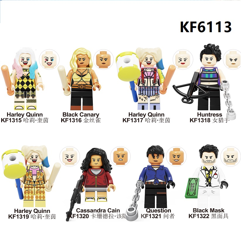 Building Blocks Birds Of Prey Bricks Harley Quinn Canary Mask Huntress Cassandra Cain Question Figures Toys For Children KF6113
