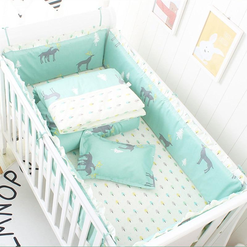 Baby Bedding Set Cotton Bed Linen For Baby Cartoon Bumper Protecor Newborns Crib Bedding Set Kids Breathable Cot Bumper 4pcs/set