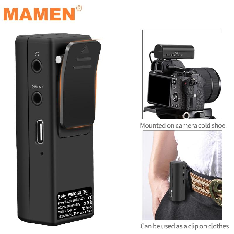 MAMEM Portable 2.4GHZ Wirelss Microphone HD Digital Lavalier Microphone 50-15KHz 360 Degree Sound Pickup Transmitting-Receiving