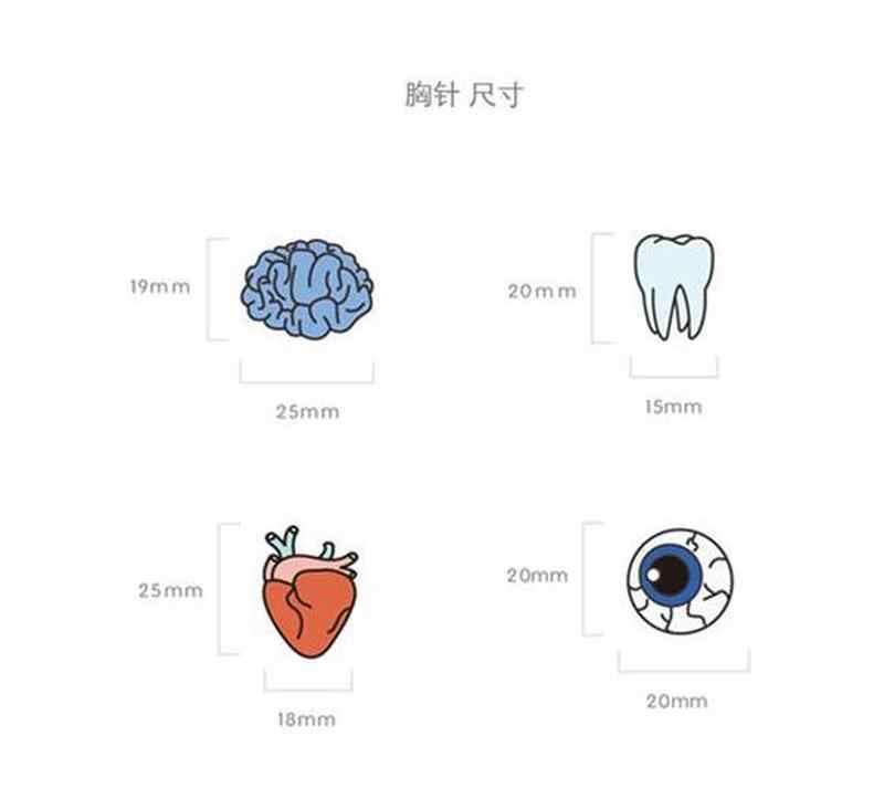 Lucu Kartun Bros Pin Organ Tubuh Manusia Otak Otak Mata Hati Enamel Kerah Pin Lencana untuk Wanita Wanita Tas Pakaian