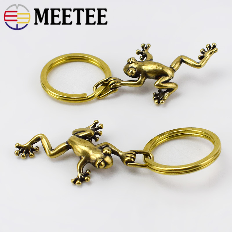 2pcs Eco-Friendly Retro Solid Brass Frog Keychain Hooks Wallet Chain Belt Buckle For Women Men Keyring Pendant Christmas Gifts