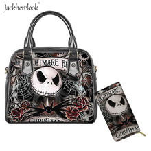 2Pcs Women Shoulder Bag and Wallet set The Nightmare Befor Christmas Print PU Le