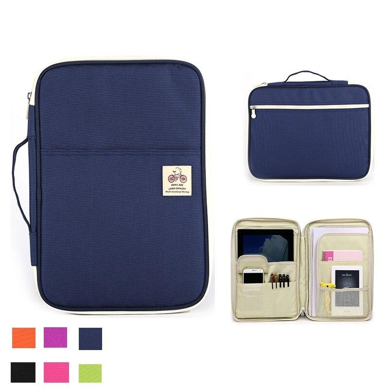 Multifunctional A4 File Bag Portable Zipper Men Women Handbags File Package Casual Portable Meeting Briefcase Ipad Bag Notebooks