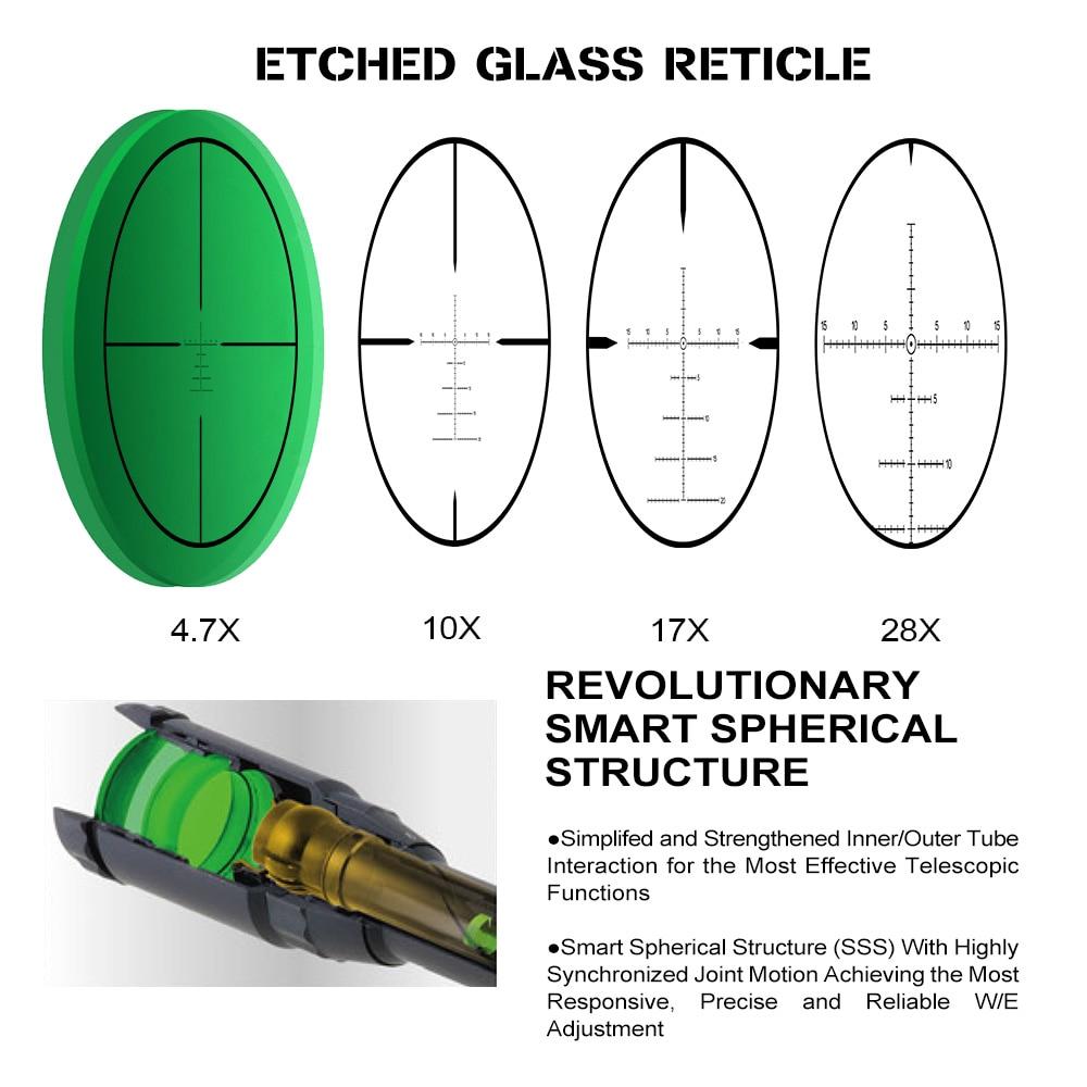 focal caça riflescope vidro gravado reticle lado