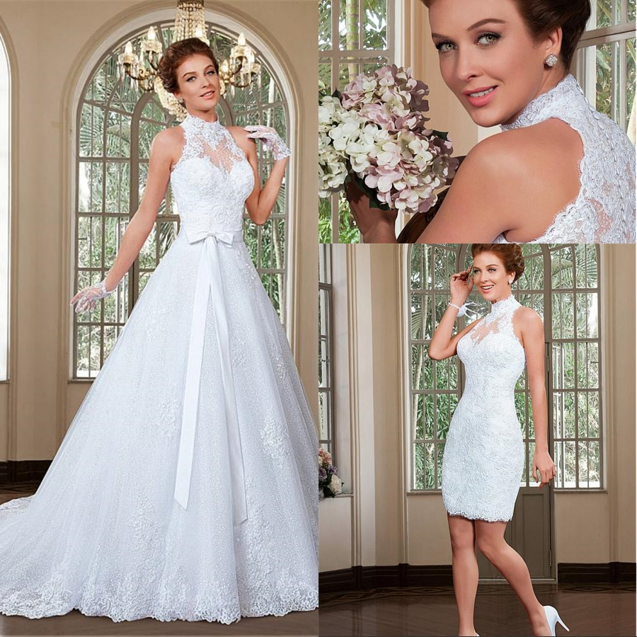 Fabulous Tulle Halter 2 In 1 Wedding Dresses With Detachable Train Beaded Lace Appliques Bridal Dress For Wedding