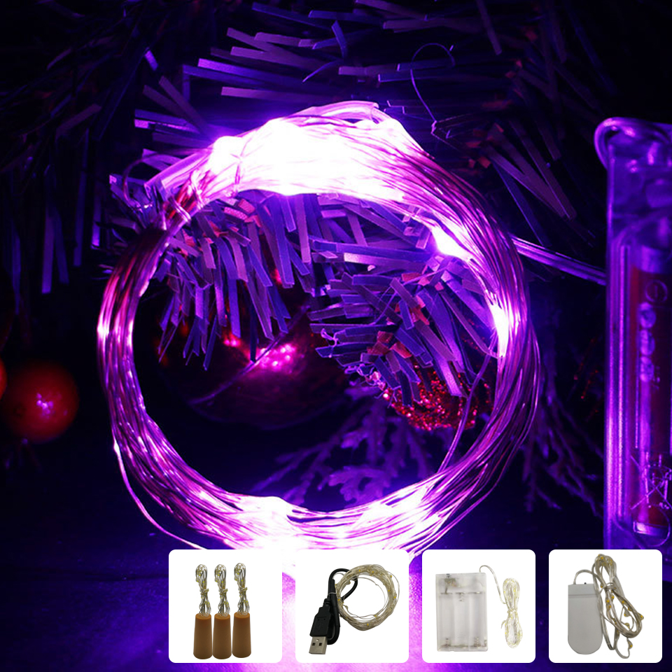 Sliver Wire LED String Lights 1M 2M 5M 10M USB Fairy Lights Holiday Lighting Garland For Christmas Tree Wedding Party Decoration