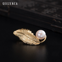 925 Sterling Silver Gold Plated Feather Pearl Brooch For Women Trendy Vintage Original Design Brooches Fine Jewelry For Women trendy rhinestoned faux pearl brooch for women