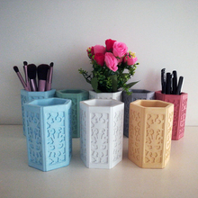 Silicone Mold Concrete Plaster-Molds Container Pen-Holder Cement Hexagon