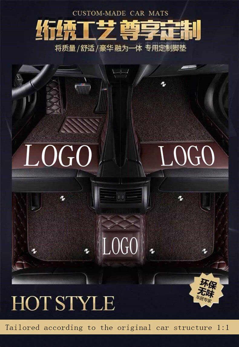 שטיחי רצפת מכונית עם לוגו/מותג לוגו עבור יונדאי ix25 ix35 טוסון סנטה פה Elantra הסונטה Solaris מלא כיסוי מקרה שטיח שטיחים לין