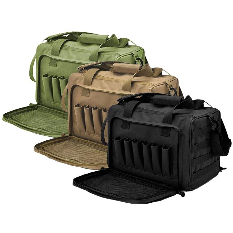 Shooting Range Bag Molle System Outdoor Hunting Accessory Nylon Gun Tactical Case Bag Pistol Tool Shoulder Pack Sniper Black